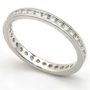 Round Diamond Channel Set Eternity Band Anniversary Ring with Milgrain Edges 18K 3/4 carats