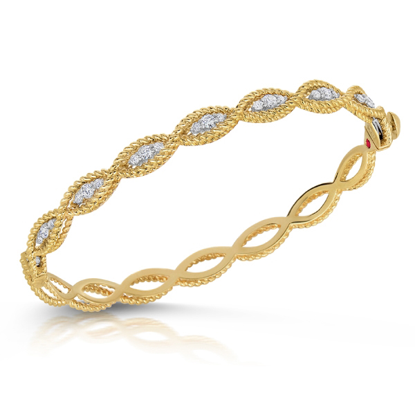 Roberto Coin Barocco 18K Yellow and White Gold Diamond Eternity Infinity Bangle Bracelet
