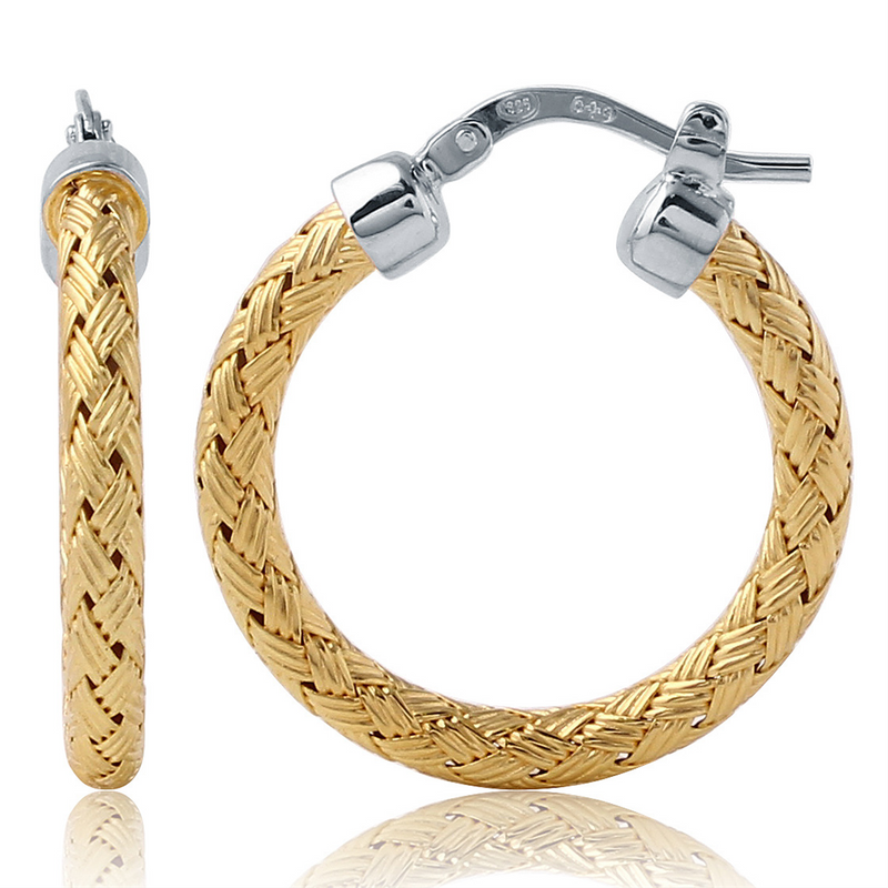 Charles Garnier 25mm Sterling Silver Milan Mesh Hoop Earrings With an 18k Yellow Gold Finish