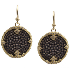 Armenta Ombre Disc Earrings with Pav Set Champagne Diamonds in Sterling Silver & 18K Yellow Gold