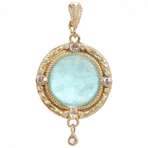 Armenta Old World Round Turquoise, Quartz, & Diamond Yellow Gold Medallion Pendant Enhancer