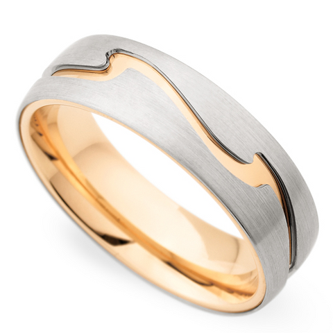 Christian Bauer Men's Platinum & 14K Yellow Gold 6.5mm Wedding Band Ring