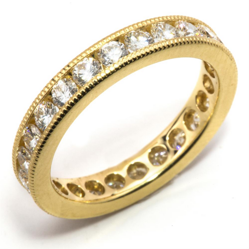 Round Diamond Eternity Milgrain Anniversary Band Ring 18K Yellow Gold