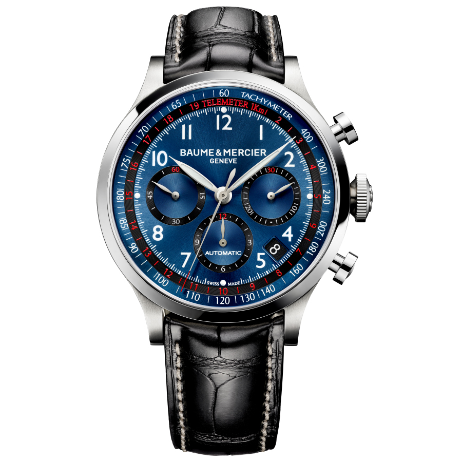 Baume & Mercier Capeland Automatic Chronograph Blue Leather 44mm Watch 10065