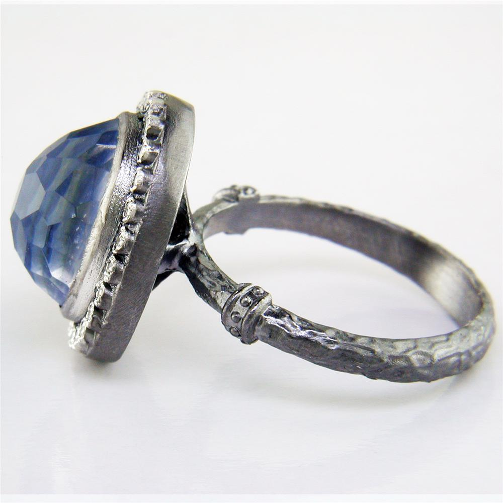 Armenta Kyanite & Quartz Old World Oxidized Silver Ring with Diamond Halo