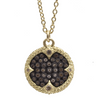 Armenta Ombre Champagne Diamond Carved Round Disc Silver & 18k Yellow Gold Pendant Necklace
