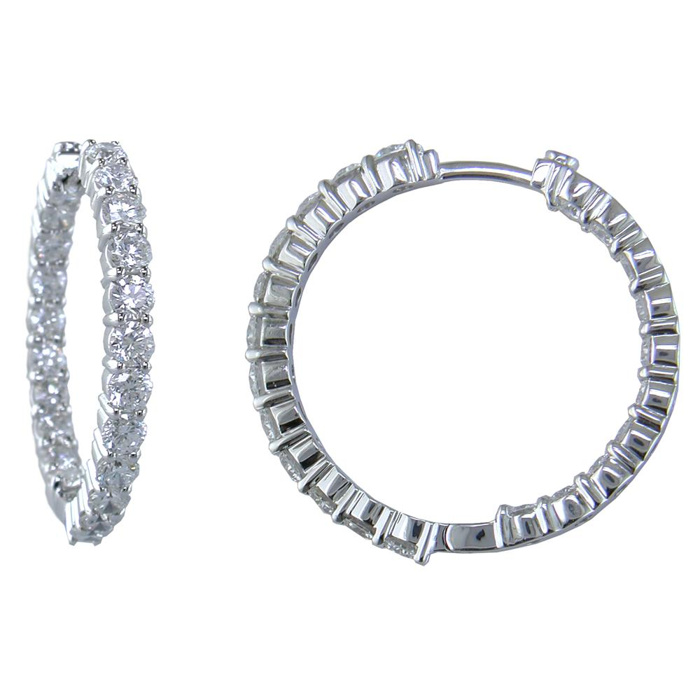 Roberto Coin 28mm Diamond Hoop Earrings 18K White Gold