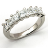 Princess Diamond Seven Stone Platinum Wedding Band Ring 1.75 carats