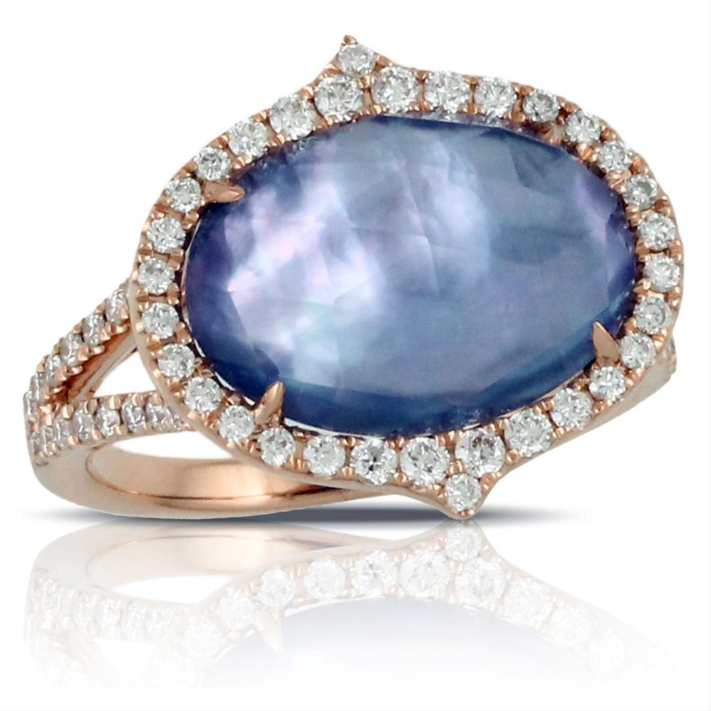 "Doves ""Parisian Plumb"" Purple Amethyst, Lapis, Mother of Pearl Oval Shape Ring with Diamonds"