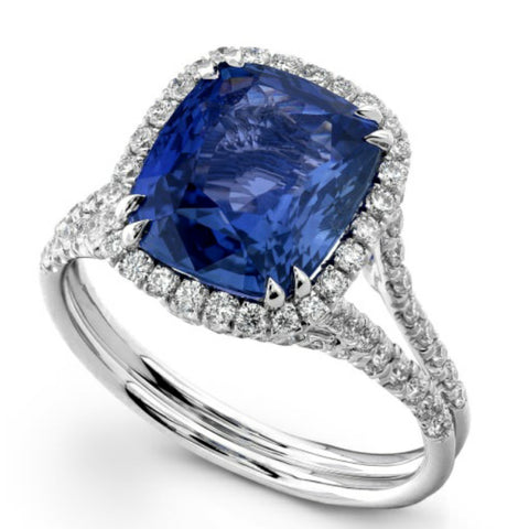 Cushion Shaped Tanzanite & Diamond Halo Platinum Engagement or Cocktail Ring