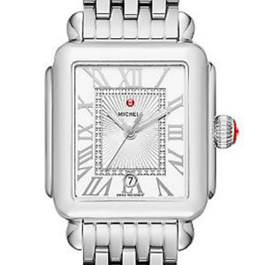 Michele Deco Madison Diamond Dial Roman Numerals Stainless Steel Watch