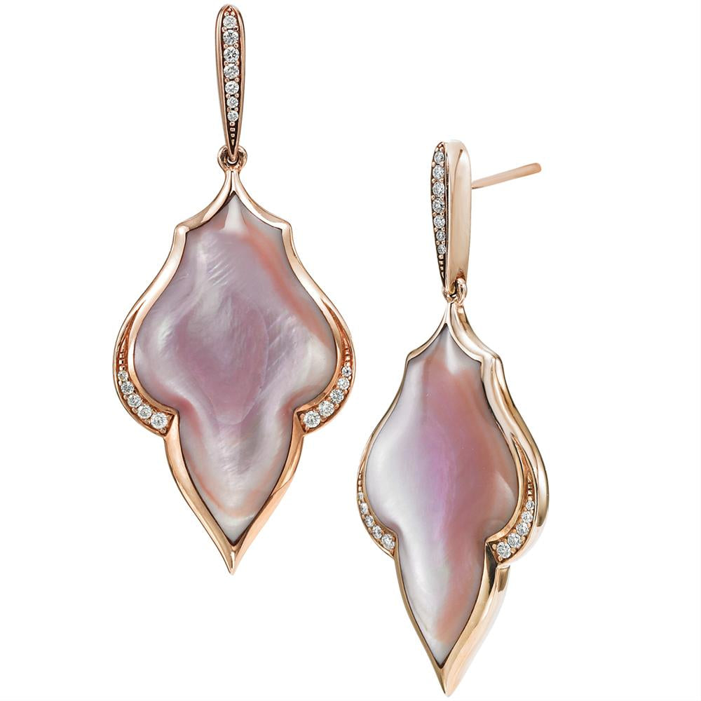 Kabana Pink Mother Pearl Inlay Rose Gold Diamond Earrings necf298mp