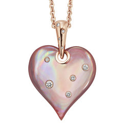 Kabana Pink Mother of Pearl Inlay Rose Gold Heart Pendant Necklace npcf594mp