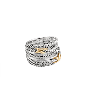 Crossover Double X Sterling Silver & 18K Gold Ring