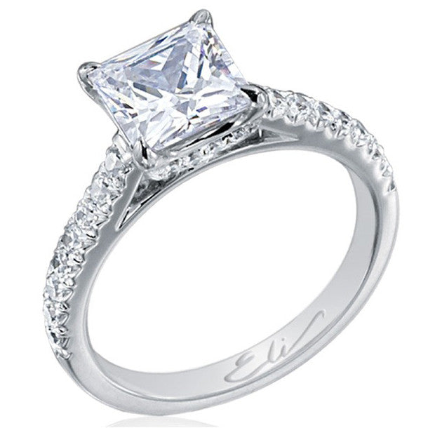 Princess Cut 2 Carat Diamond Engagement Ring with Side Diamonds in Platinum