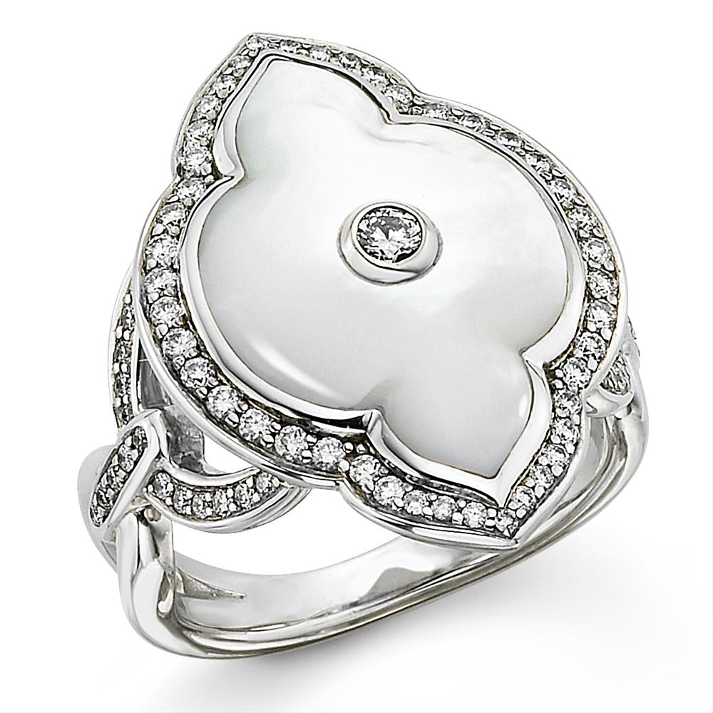 Kabana White Mother of Pearl Inlay Diamond White Gold Ring WRIF557MW