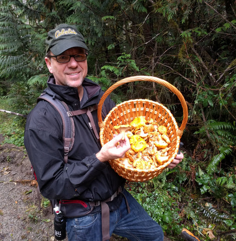 My brother Don shows off a harvest of Golden Chanterelles he bagged during a Sept. 23 foray in the Gifford Pinchot National Forest north of Mt. St. Helens.