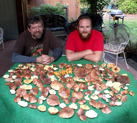 Larry and PJ show off a crop of fine Admirable Boletes (and a few other things on the fringes).