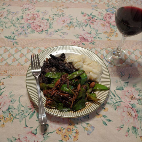 Clay Pot Beef With Shaggy Parasols and Red Wine. Mashed potatoes and sauteed Chinese Pea Pods (with Enoki Mushrooms and almonds) on the side.