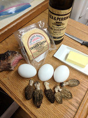 Morels for breakfast, dry sauteed and then mixed into omelettes with sirloin steak and smoked gouda cheese! Yummm.