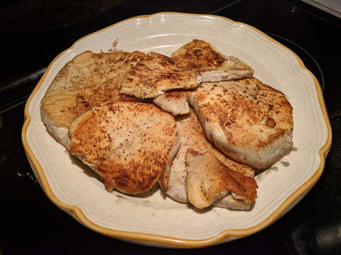 Grilled puffball steaks, ready to eat