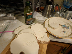 When sliced, edible Giant Puffball mushroom slices look like white bread.