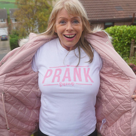 Prank Queen T-Shirt White & Pink - Morgz Merch