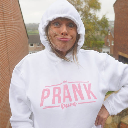 Prank Queen Hoodie White & Pink - Morgz Merch