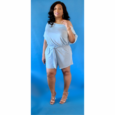 Summer Blues Romper | Plus Size Off Shoulder Romper