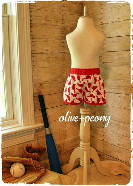 Cardinal Bird Petal Shorties