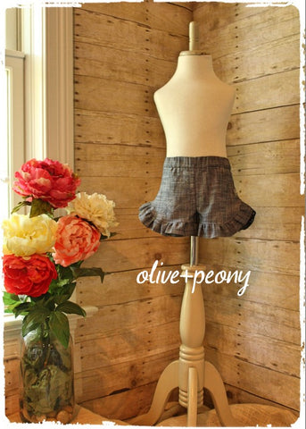 Essential Chambray Ruffle Shorts