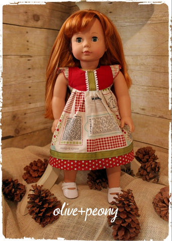 "Peppermint Cookies 18"" Doll Dress"