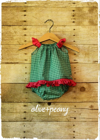 Aqua Green Gingham Ruffle Playsuit