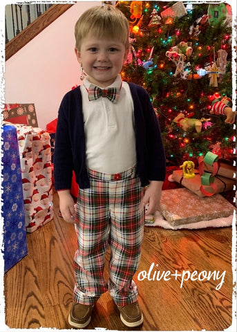 Red, White, and Green Holiday Plaid Pants & Bow Tie