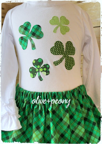 Scattered Shamrocks Ruffle Tee