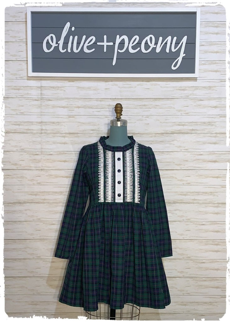 Vintage Holiday Dress in Plaid - TWEEN