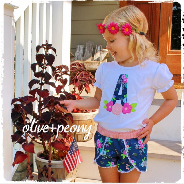 Navy Floral Petal Shorties