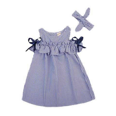 Petite Bello 1-2T Stripes & Ribbons Dress Set