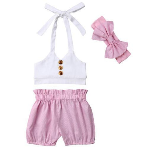 Petite Bello 6-12 Months 3pcs Hanging Neck Clothing Set