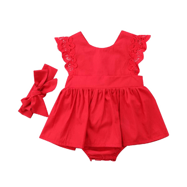 Petite Bello baby dress 0-6 Months Red Lace Ruffled Dress