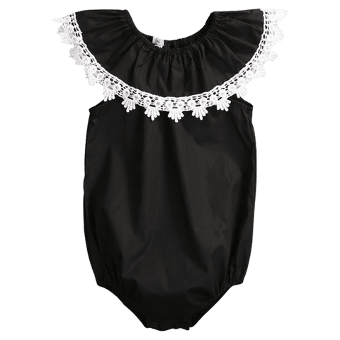 Petite Bello Bodysuit 0-3 months Black Laced Bodysuit
