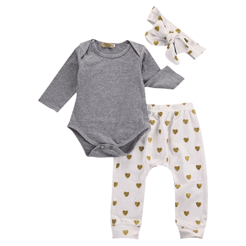 Petite Bello Bodysuit 0-3 Months Gold Heart Bodysuit Set