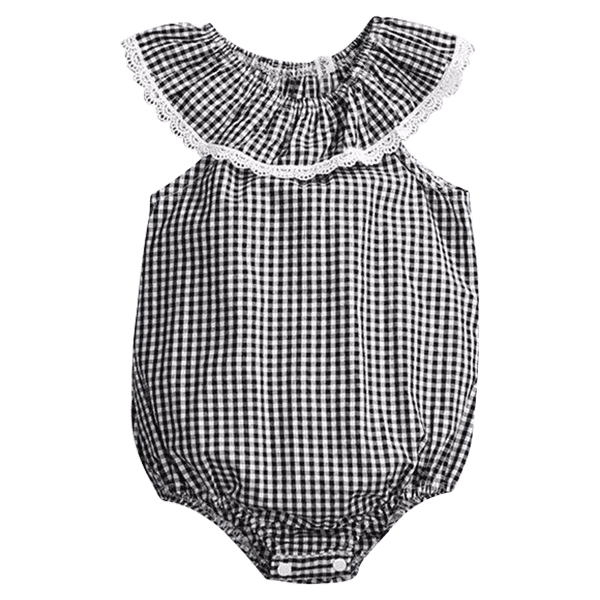 Petite Bello Bodysuit 0-3 months Lace Side Checkered Bodysuit