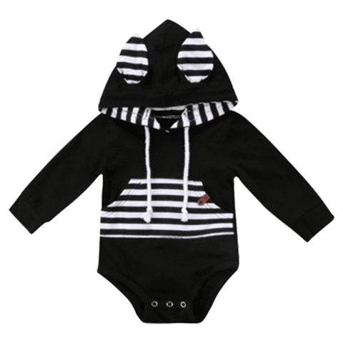 Petite Bello Bodysuit 0-6 Months Black & White Hooded Bodysuit