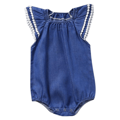 Petite Bello Bodysuit 0-6 Months Denim Lace Sleeve Bodysuit