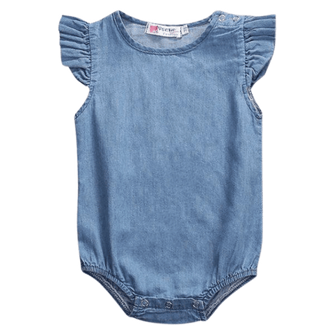 Petite Bello Bodysuit 0-6 months Denim Lotus Sleeve Bodysuit