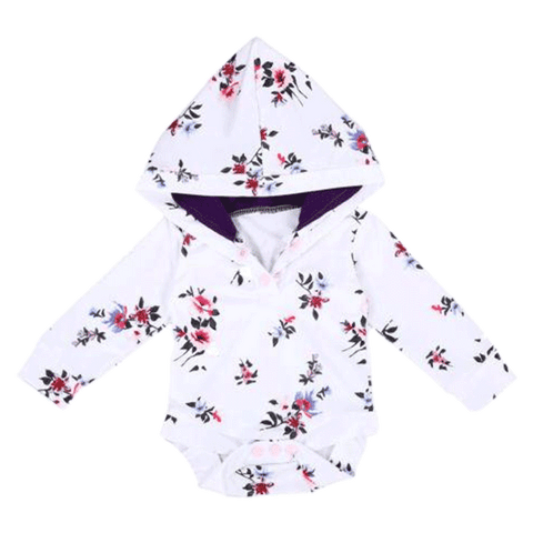 Petite Bello Bodysuit 0-6 Months Floral Hooded Bodysuit