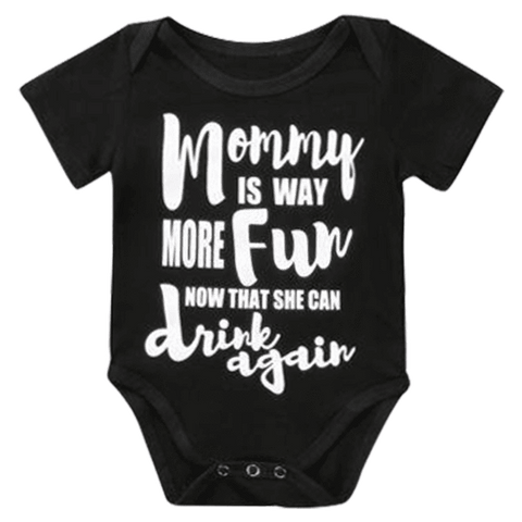Petite Bello Bodysuit 0-6 Months Mommy Is Way More Fun Black Bodysuit