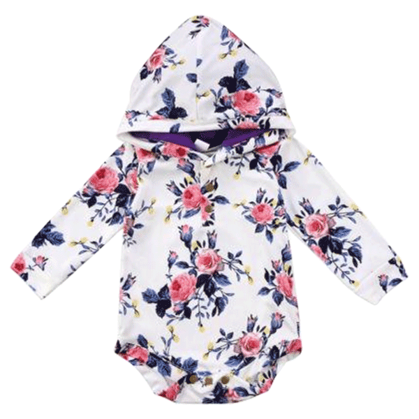 Petite Bello Bodysuit 0-6 Months Pink Rose Hooded Bodysuit