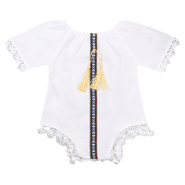 Petite Bello Bodysuit 0-6 Months White Tasseled  Bodysuit